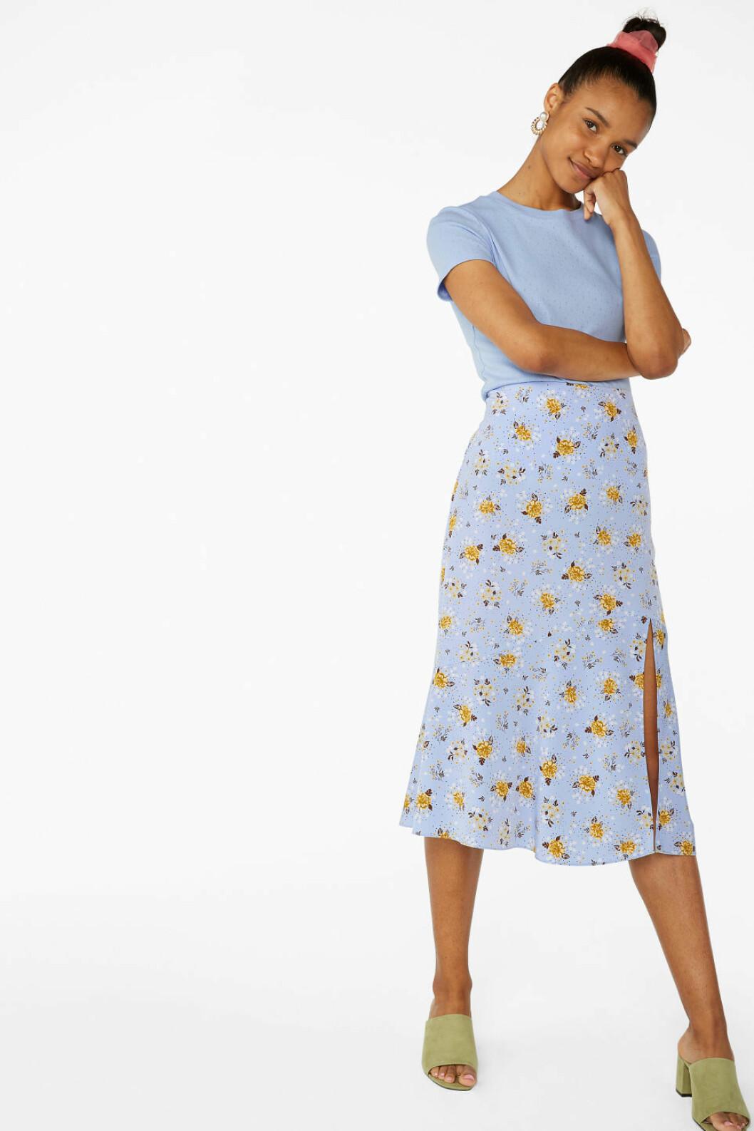Blå kjol med slits för dam till 2020