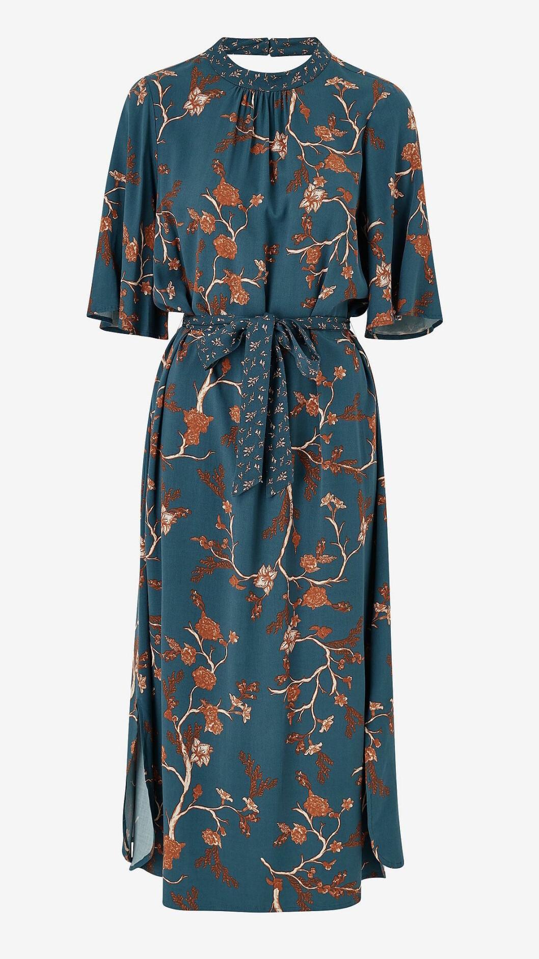 Blå höstklänning med bruna blommor för dam till 2019