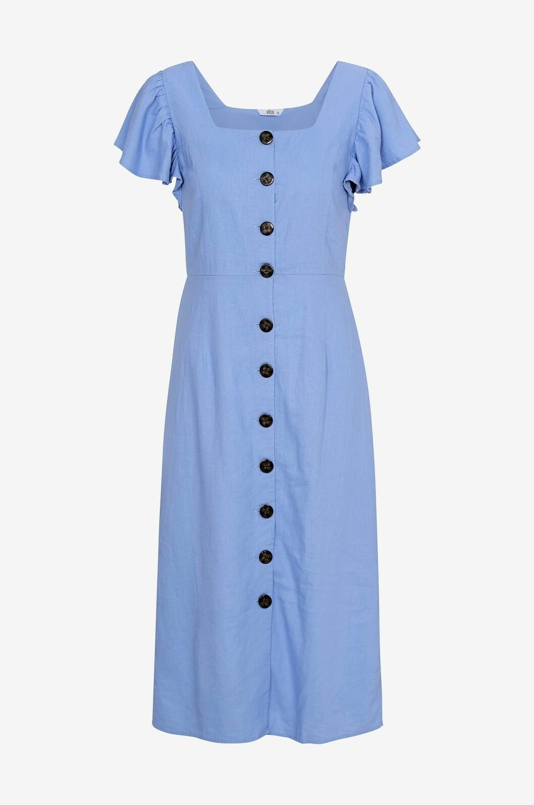Blå klänning med knappar för dam till 2020