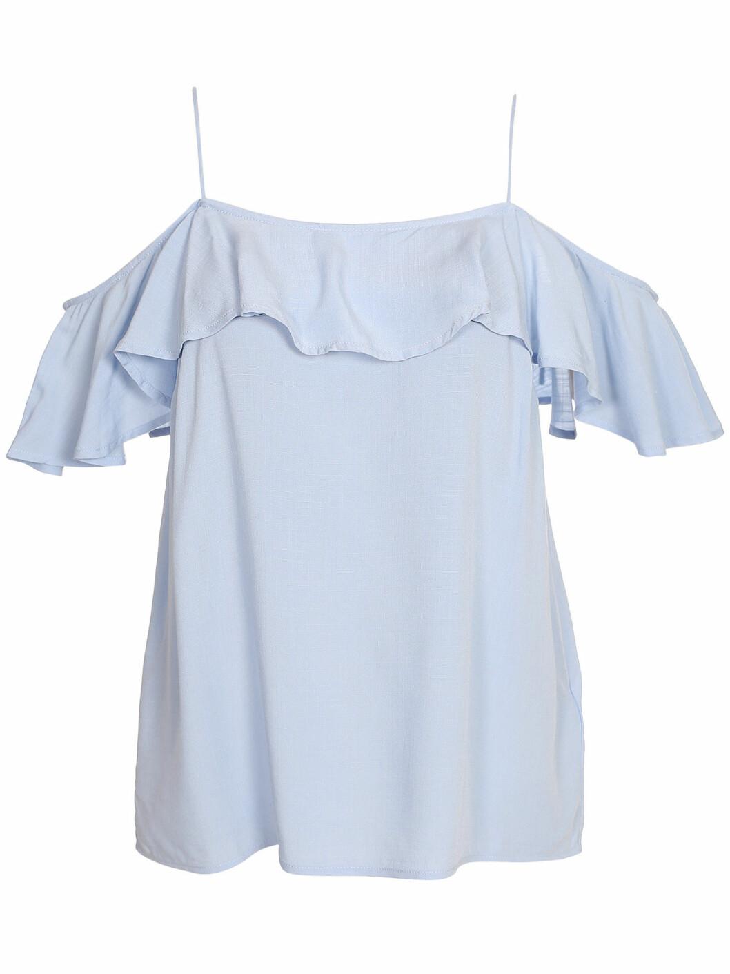blå off shoulder blus