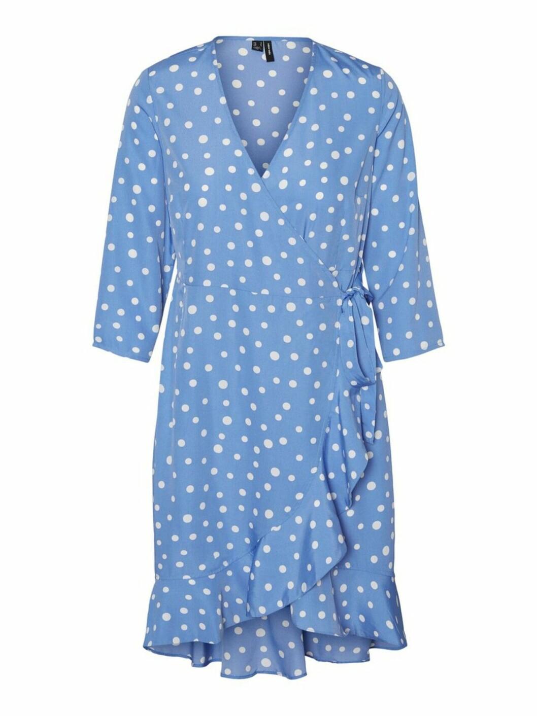 Blå, prickig klänning med volanger för dam till 2020