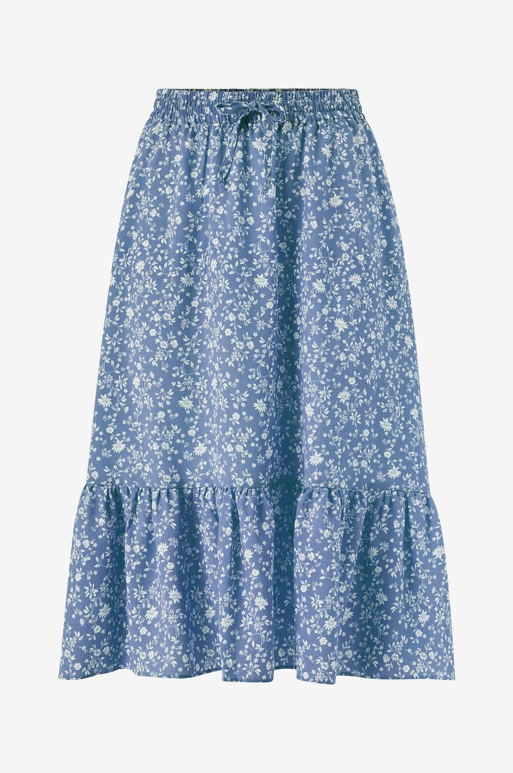 Blå volangkjol med blommor till 2020