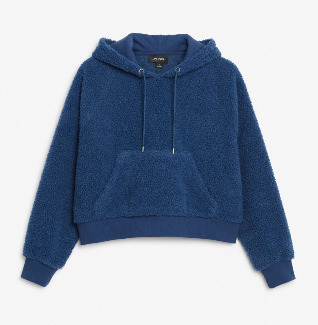 Blå hoodie i teddymaterail för dam till 2019