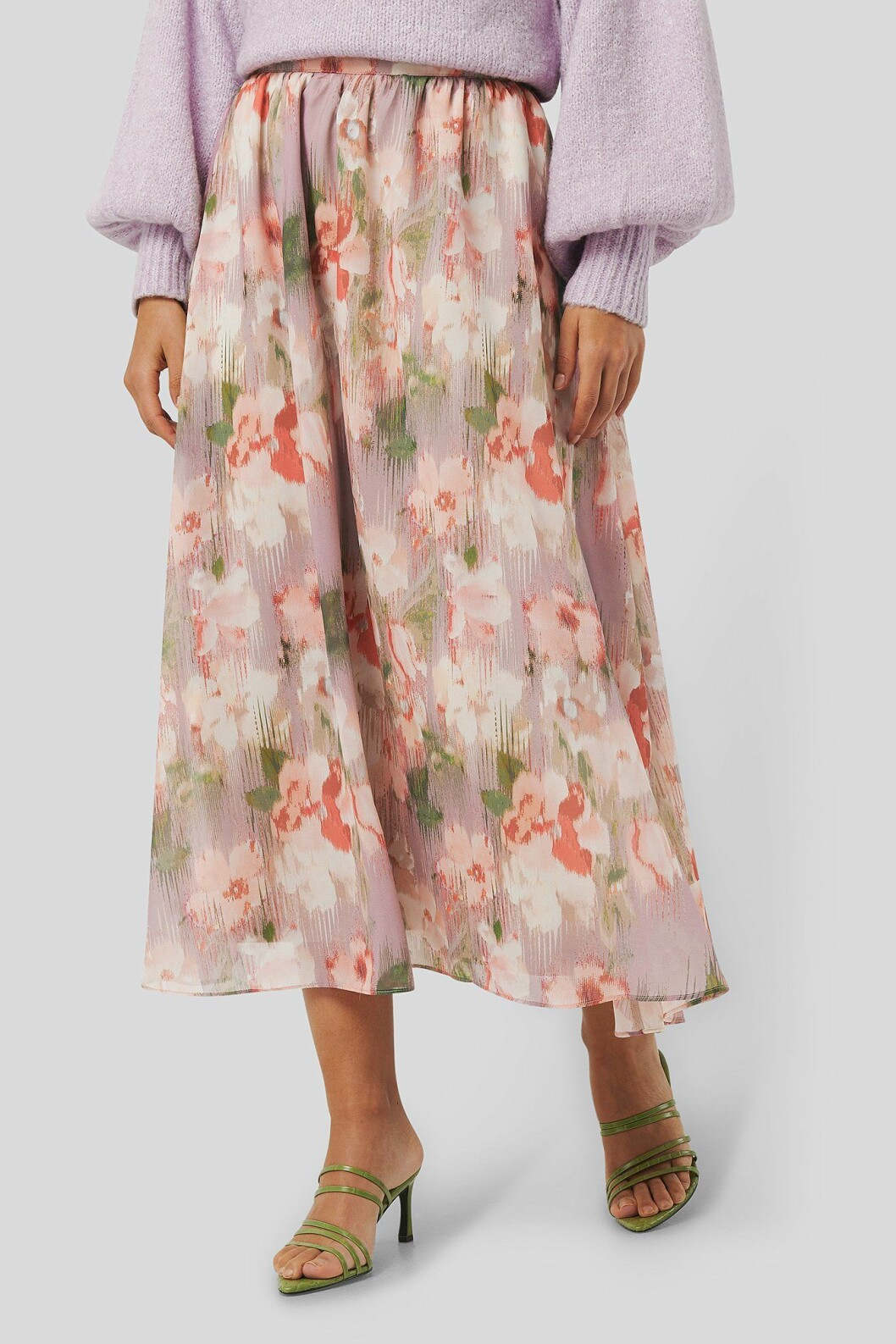 Blommig kjol i midilängd för dam till 2020