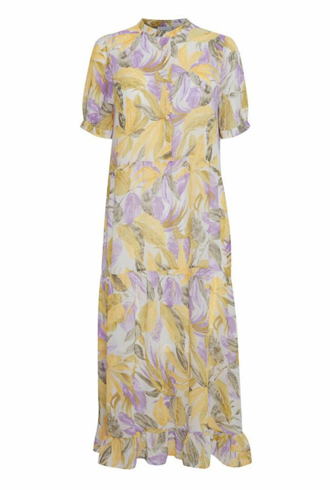 Blommig klänning i gult och lila för dam till bröllopet 2020