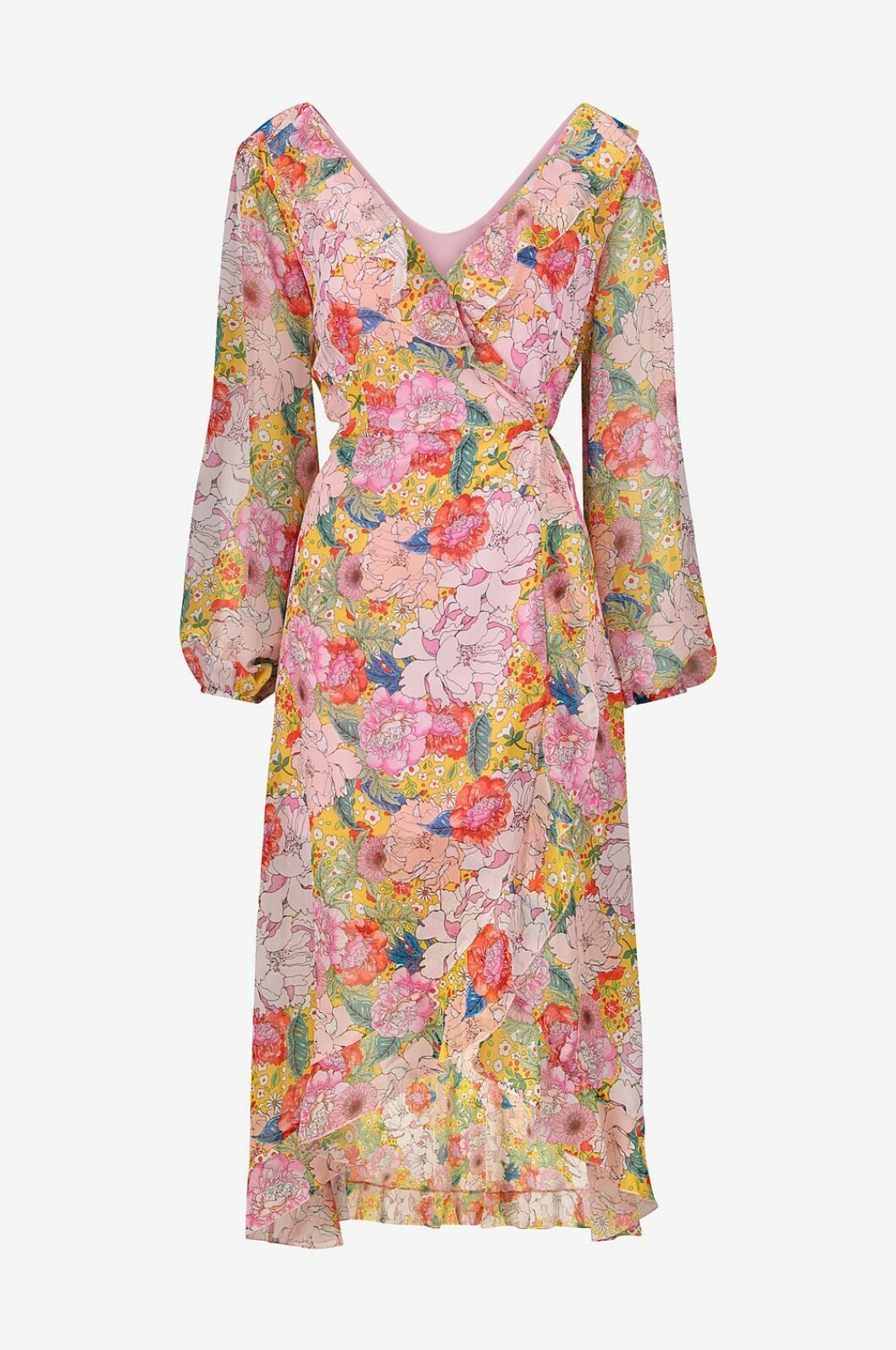 Blommig klänning med lång ärm för dam till 2019