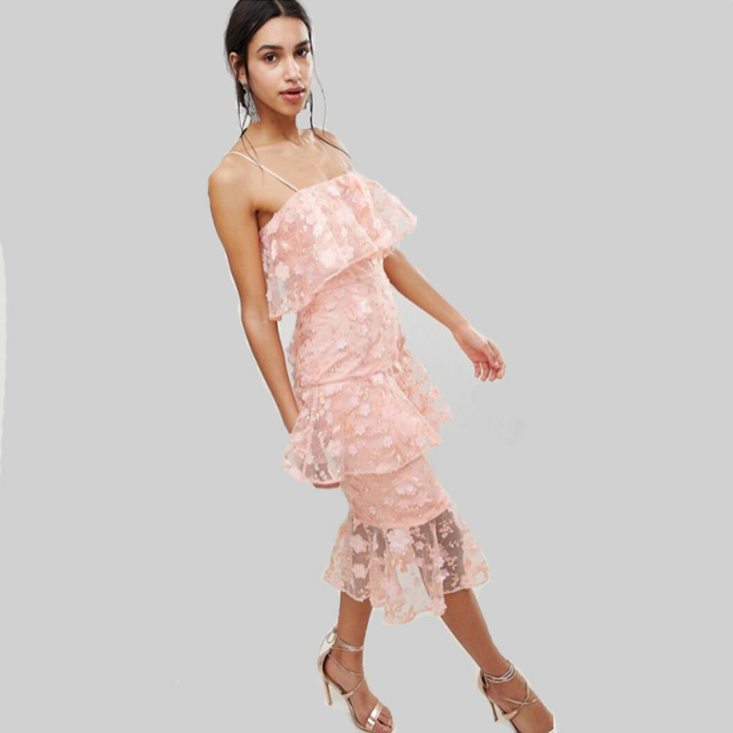 Asos design midiklänning med pennkjol i flera lager