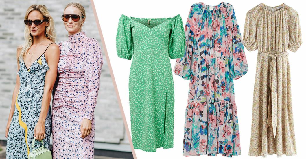 Blommiga klänningar för dam till sommarens bröllop 2020