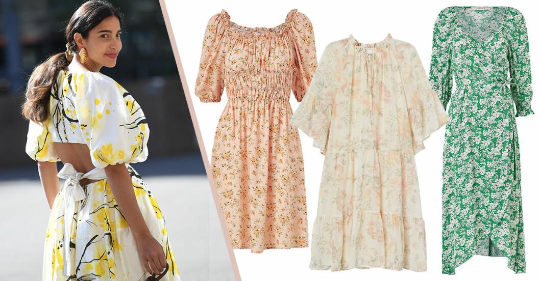 Blommiga klänningar för dam till midsommar 2020