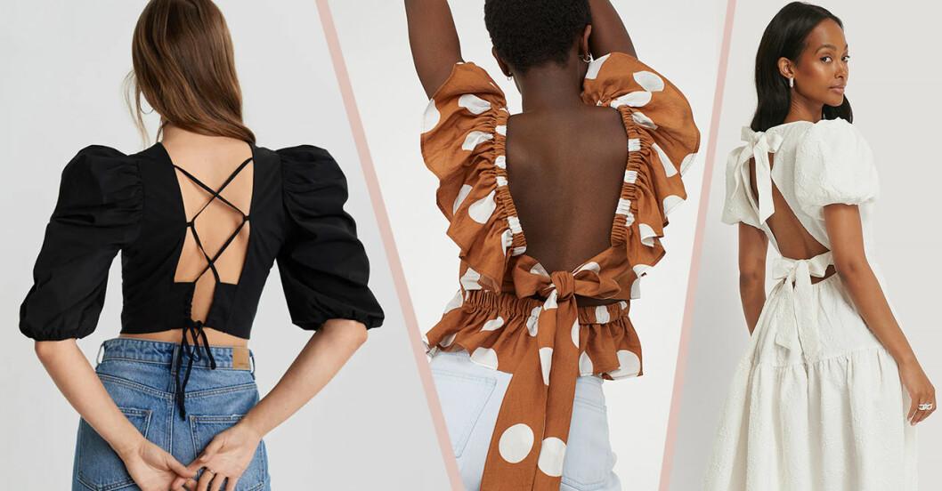 Blusar och klänningar med öppen rygg och knytdetalj för dam till 2020