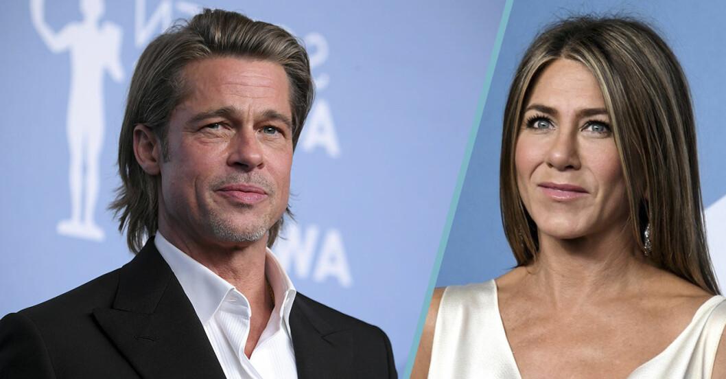 Splitbild på Jennifer Aniston och Brad Pitt