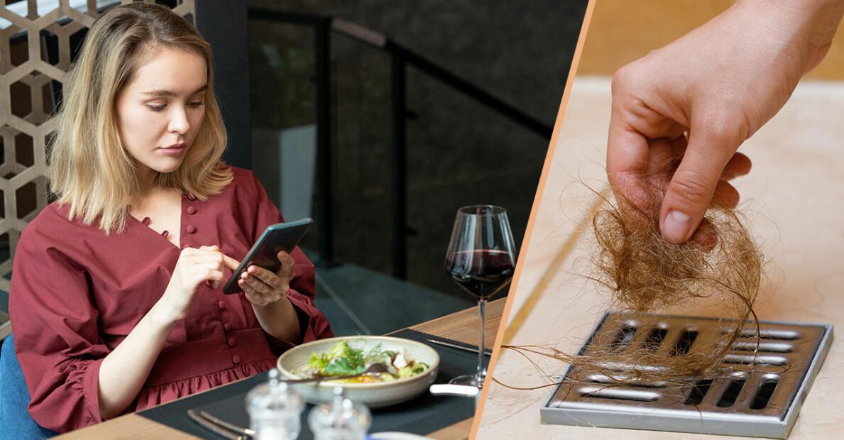 Kvinna scrollar på telefonen under middag och hår i duschen