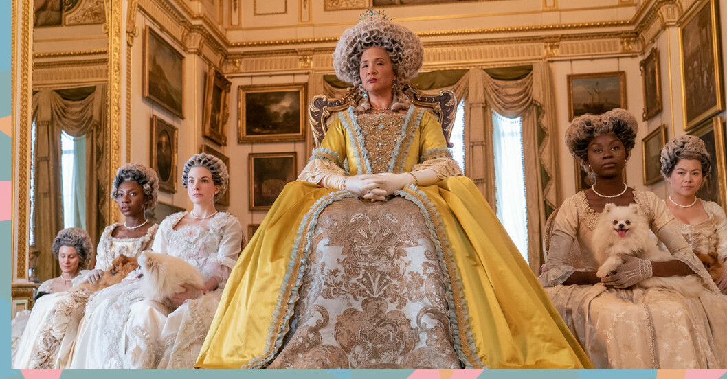 Golda Rosheuvel spelar drottning Charlotte i Familjen Bridgerton.
