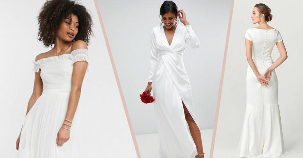 Bröllopsklänningar från H&M, Asos och Bubbleroom