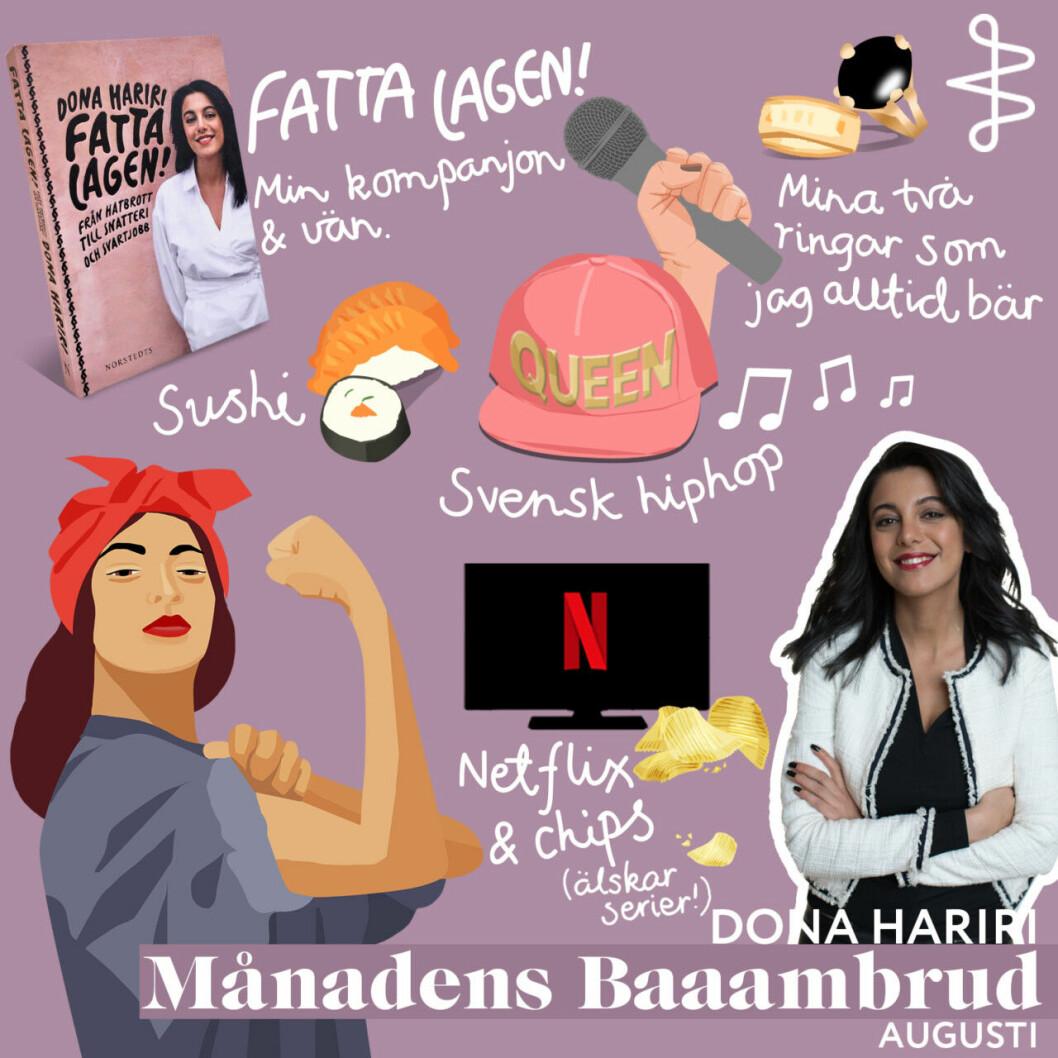 Augusti månads Baaambrud, Dona Hariri, och hennes starterpack.