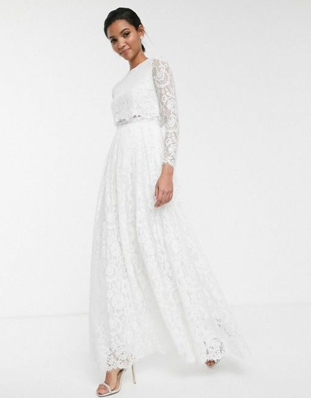 Tvådelad bröllopsklänning i spets från Asos