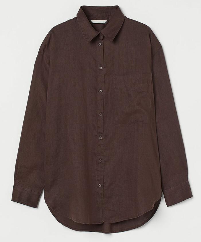 mörkbrun linneskjorta från H&M