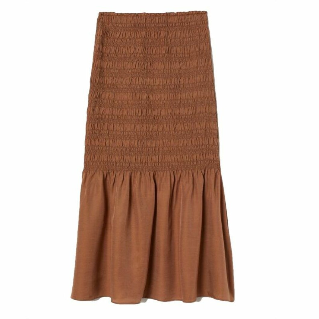Brun smockad kjol från h&M