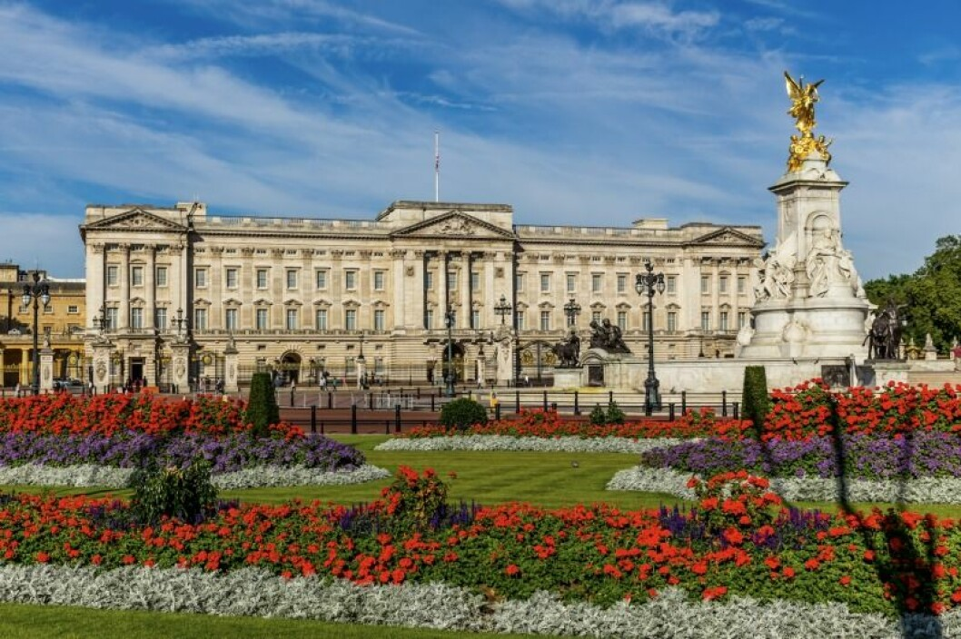 Buckingham Palace I London med massa blommor utanför