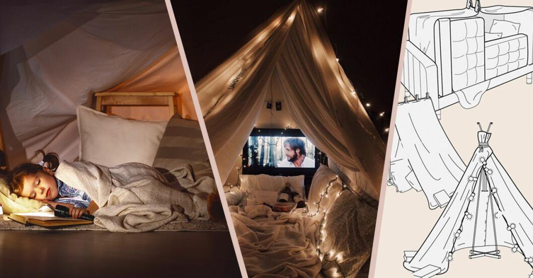 kojor och tält av möbler
