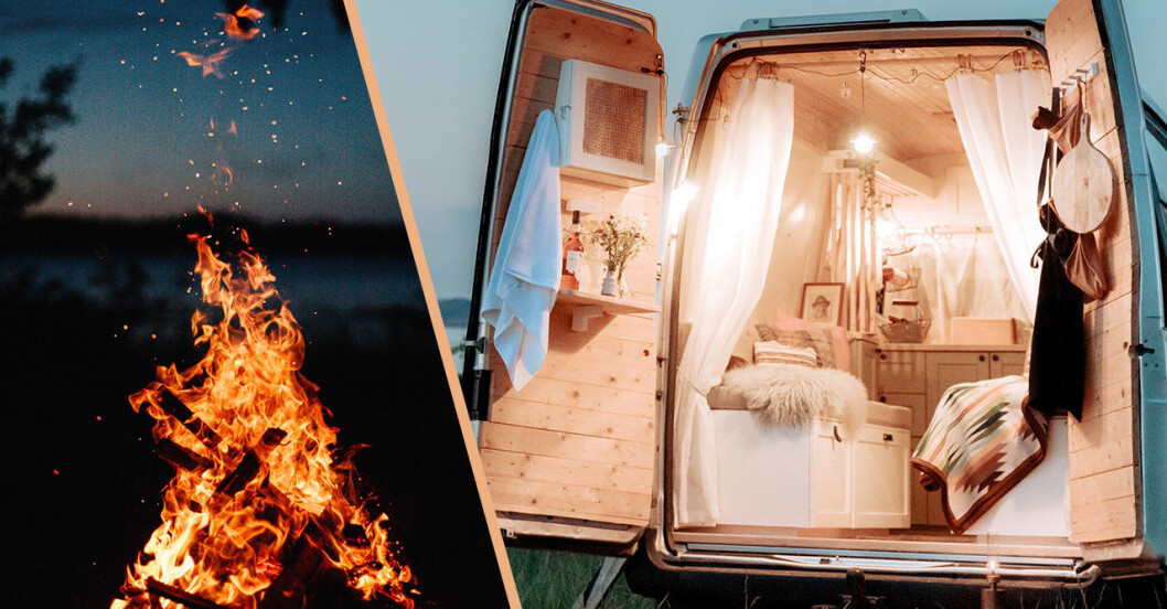 Eld och mysig campervan