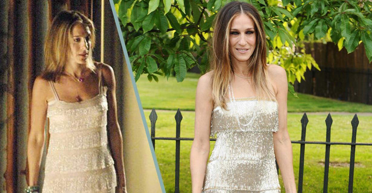carrie bradshaw och sarah jessica parker i vit klänning med fransar