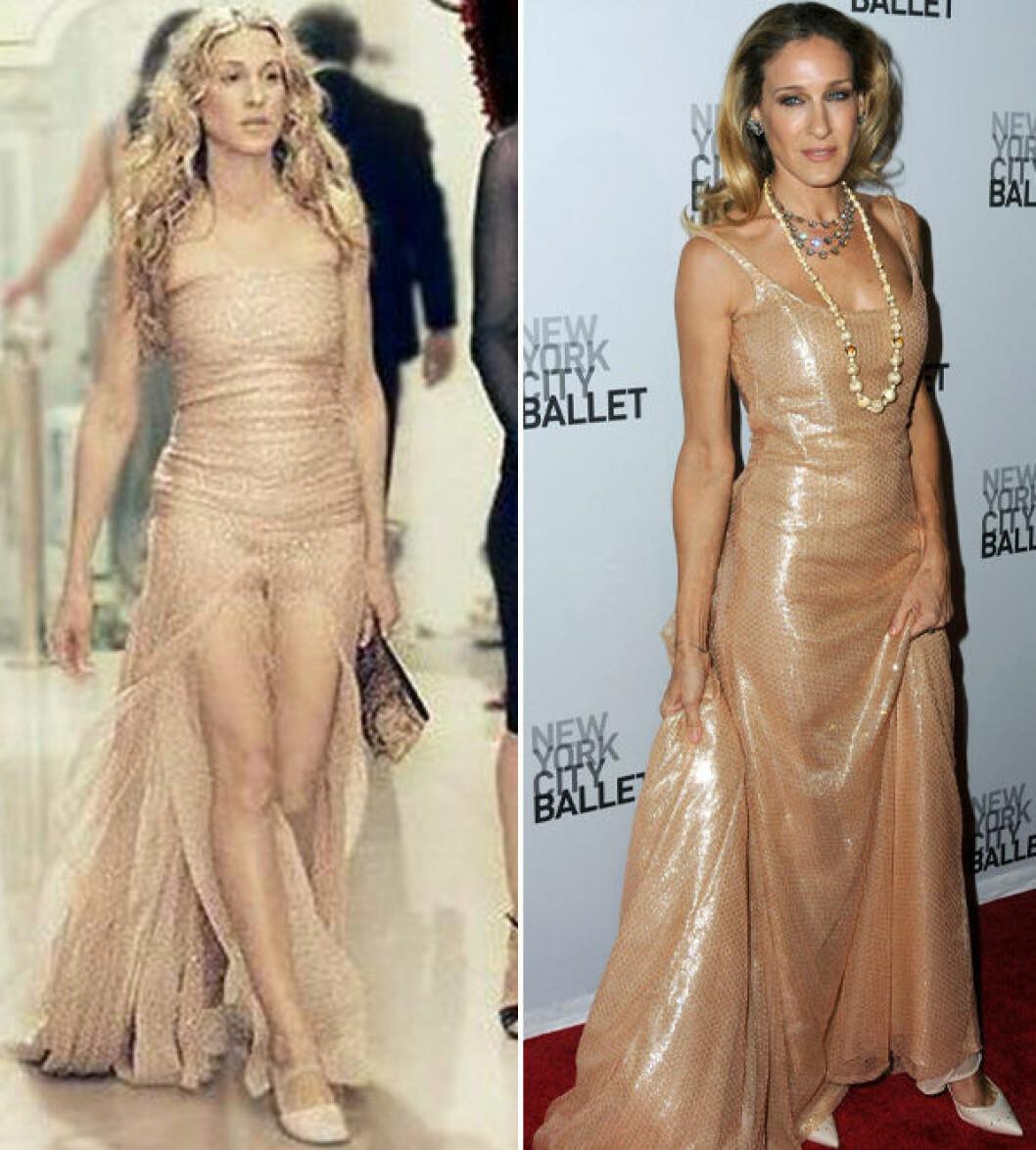 Carrie Bradshaw och Sarah Jessica Parker i en beige långklänning