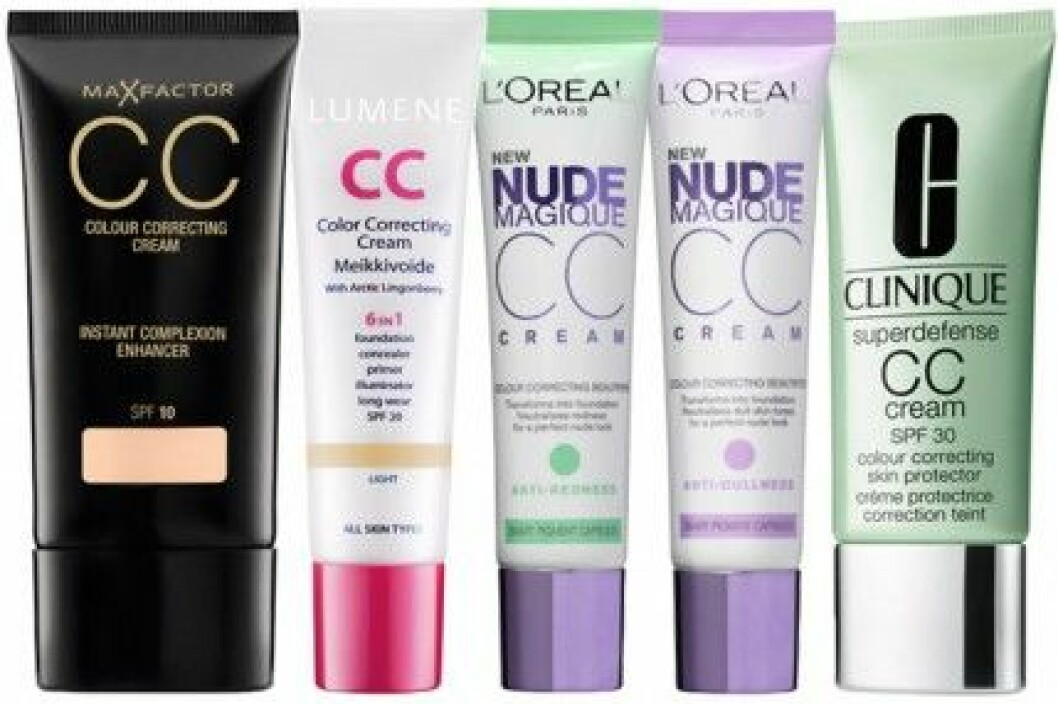 CC-cream från Max Factor, L'Oréal, Lumene och Clinique.