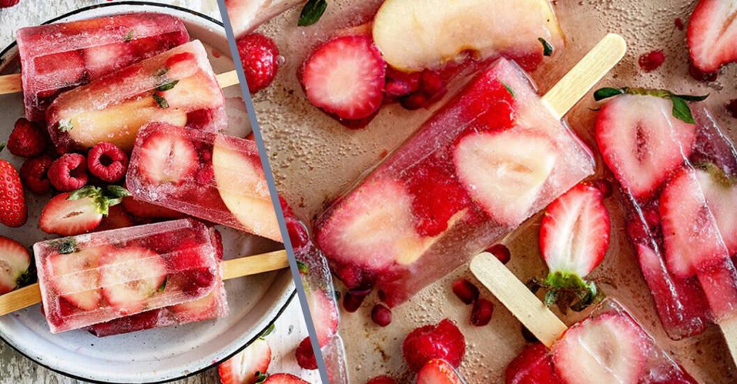 Champagneglass med jordgubbar