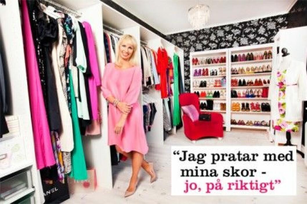 Charlotta Flinkenberg har ett rum på 25 m² där hon förvarar sina kläder.