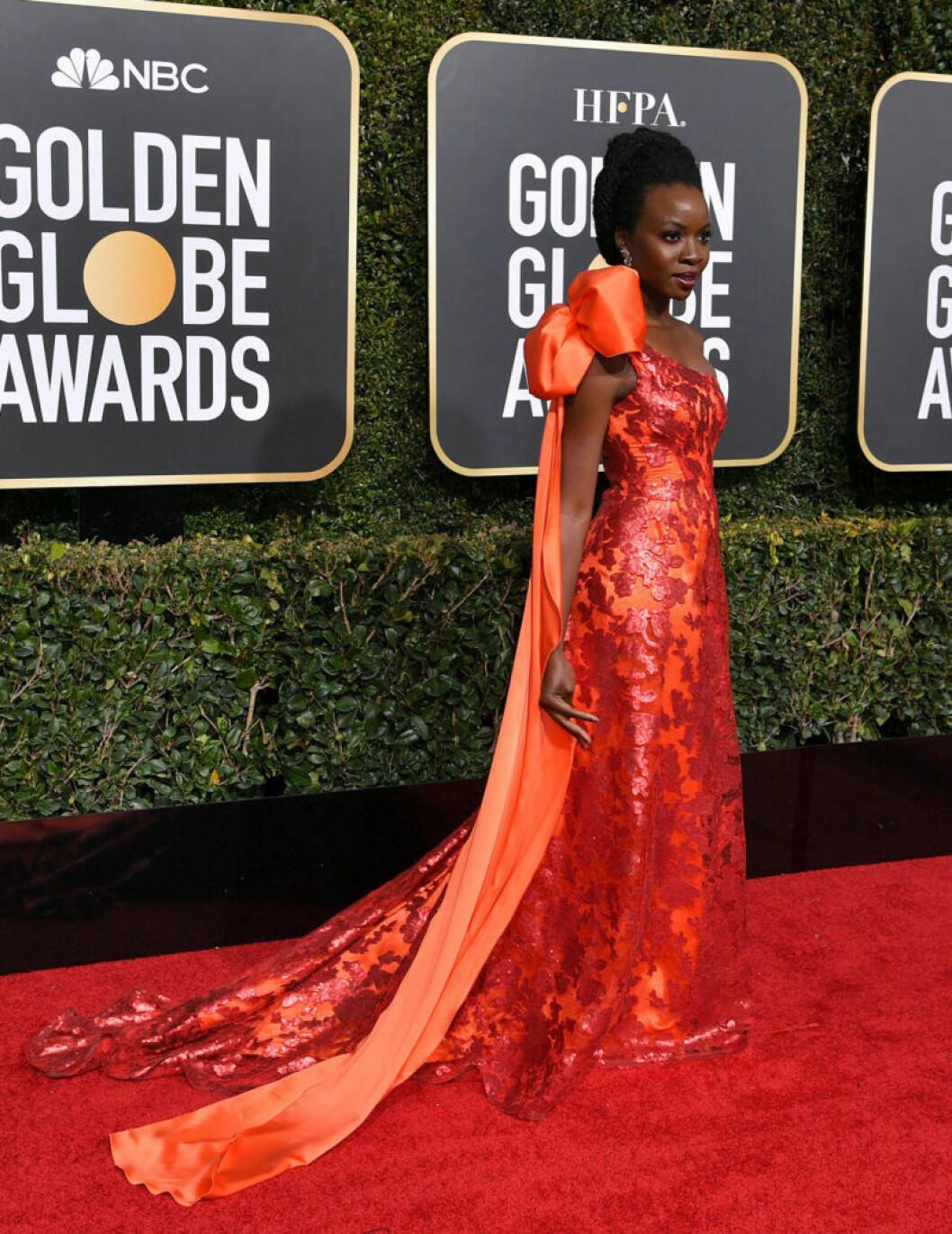 Danai Gurira på röda mattan på Golden Globe