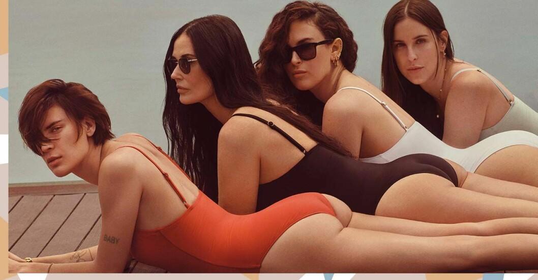 Demi Moore poserar med sina döttrar