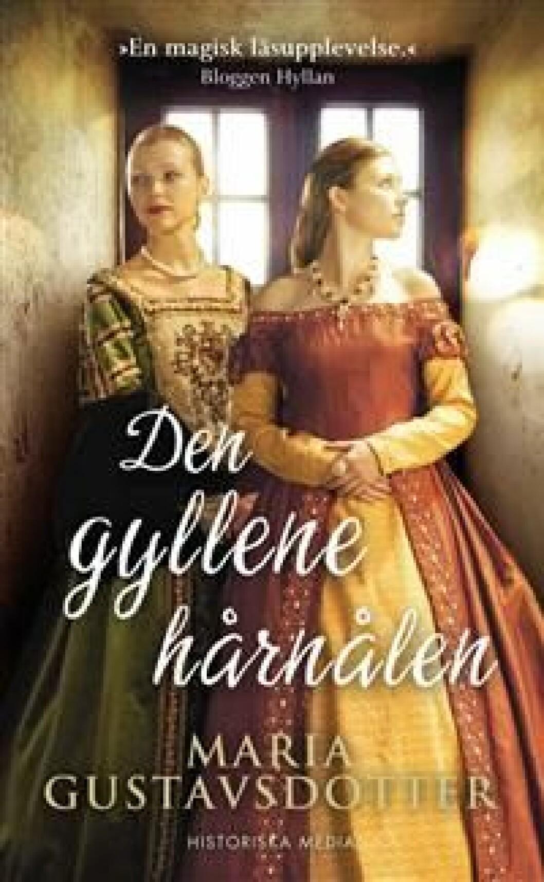 En bild på bokomslaget till romanen Den gyllene hårnålen (Maria Gustavsdotter).