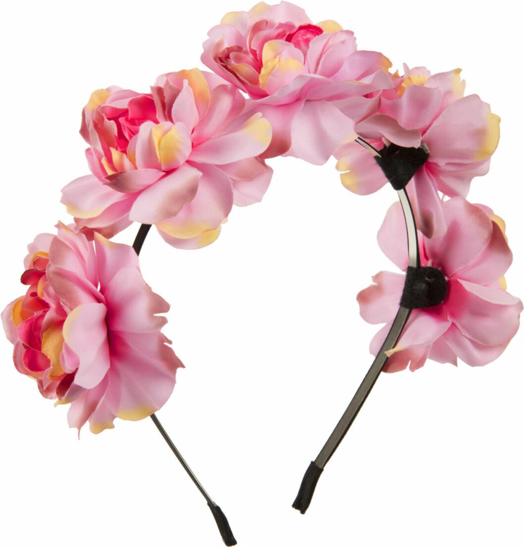 Diadem med stora rosa blommor till midsommar