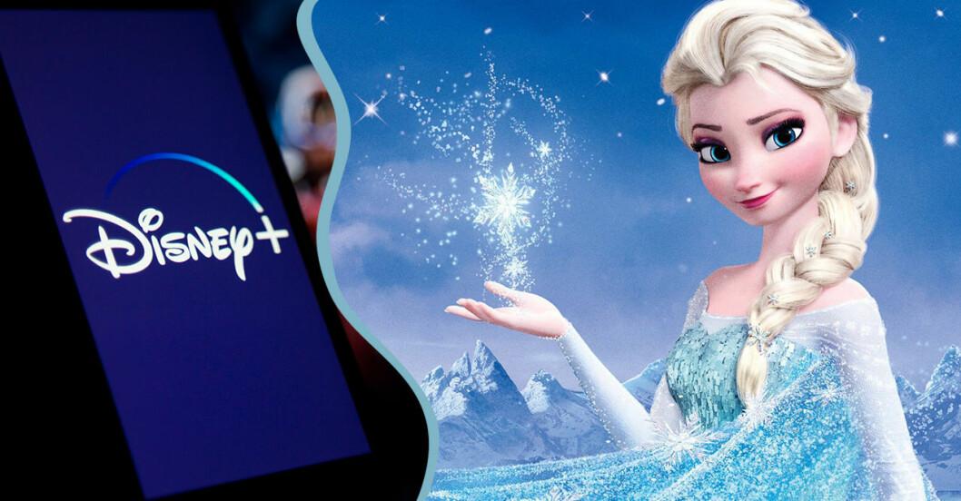 Elsa i Frost och Disney plus logotyp