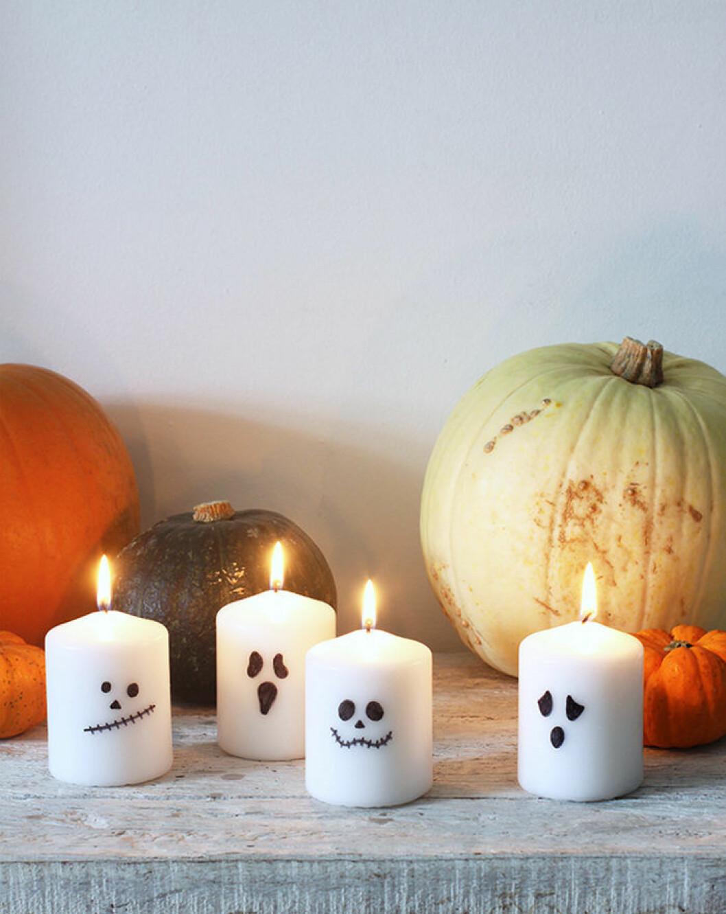 DIY-blockljus med spöken till halloween