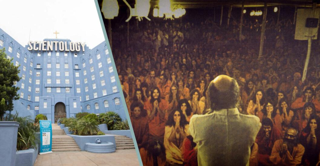 Delad bild med Scientologins kyrka och en man som står framför en stor folkmassa