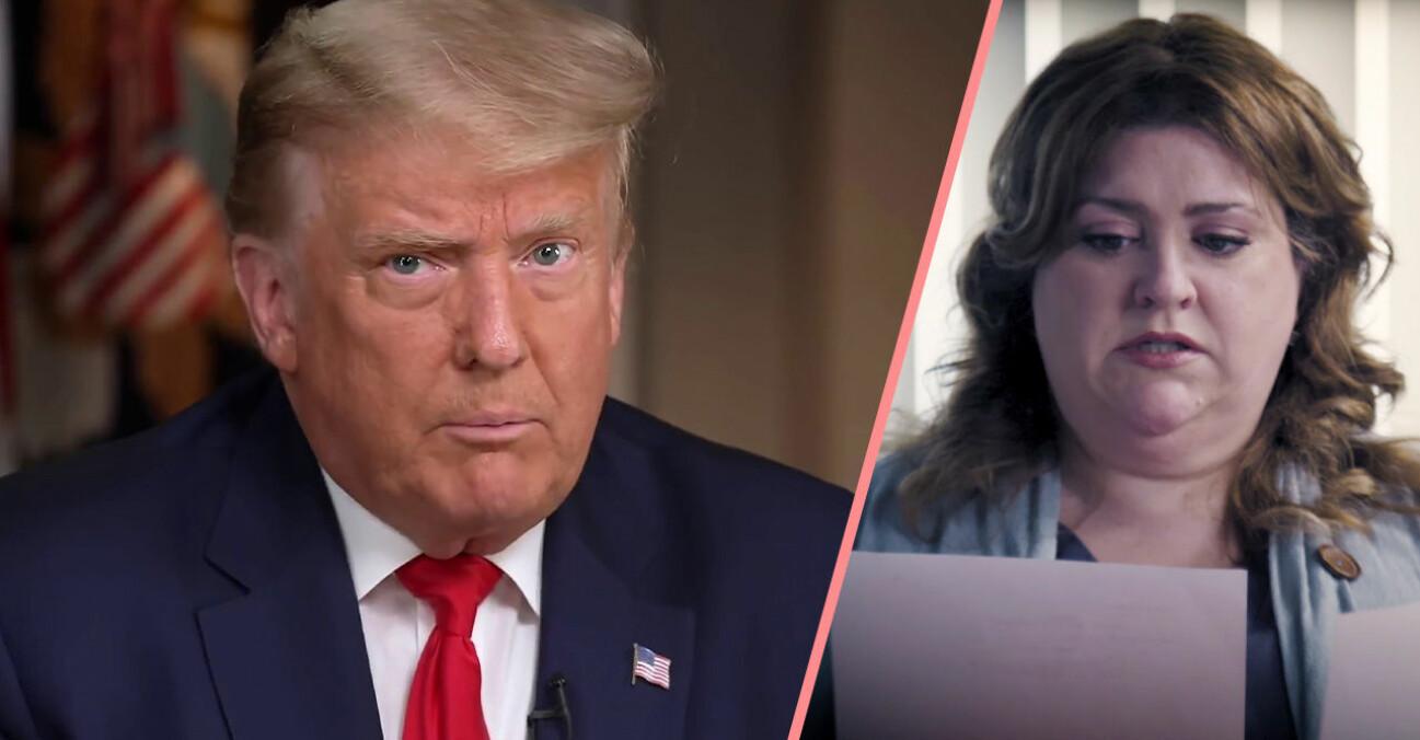 Donald Trump på anställningsintervju med en kvinna som läser hans cv.