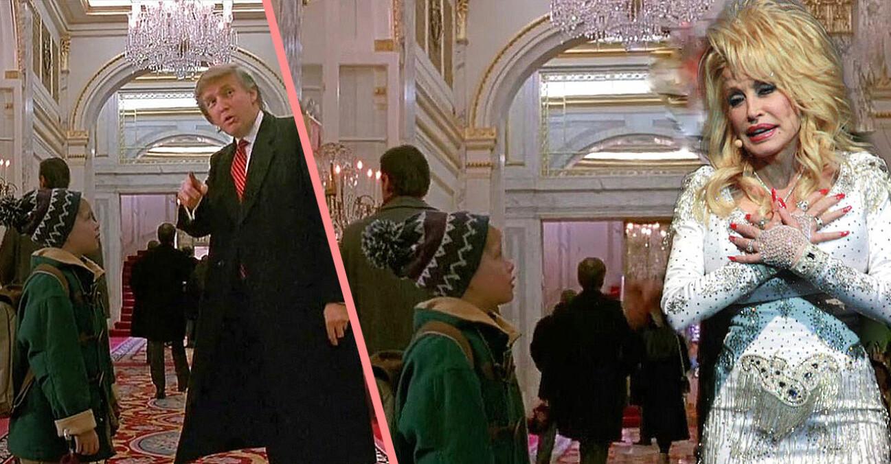 Donald Trump utbytt mot Dolly Parton i filmen Ensam hemma 2.