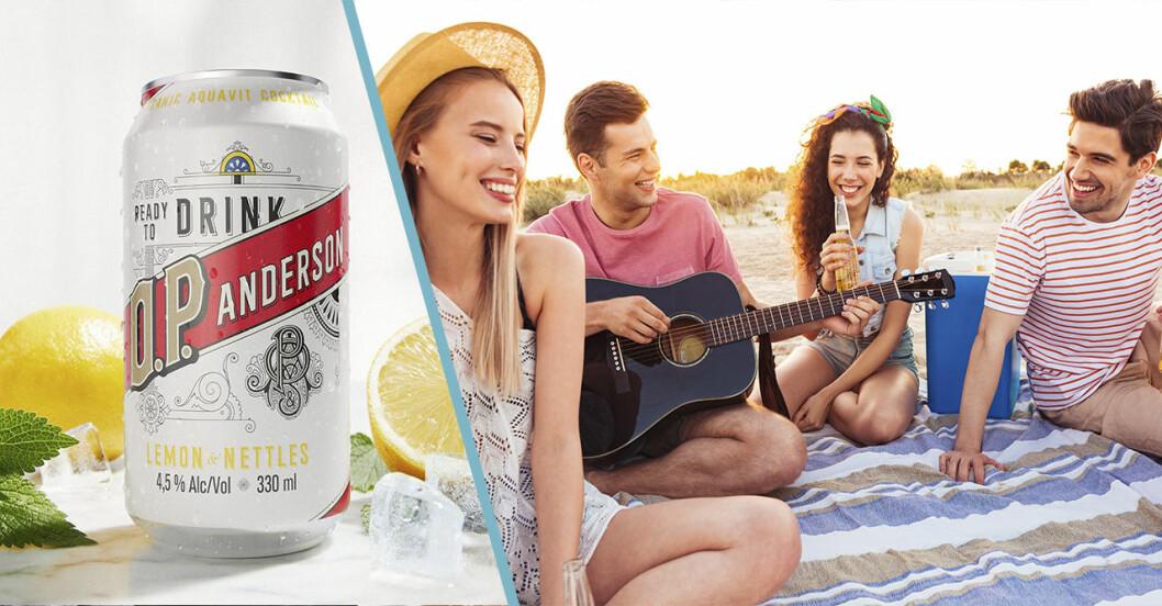 en drink på burk och kompisar som har picknick på en filt och är glada