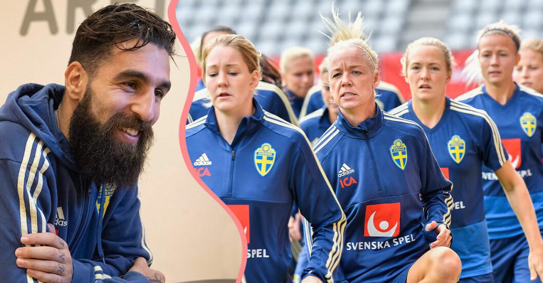 Jimmy Durmaz och svenska damlandslaget.