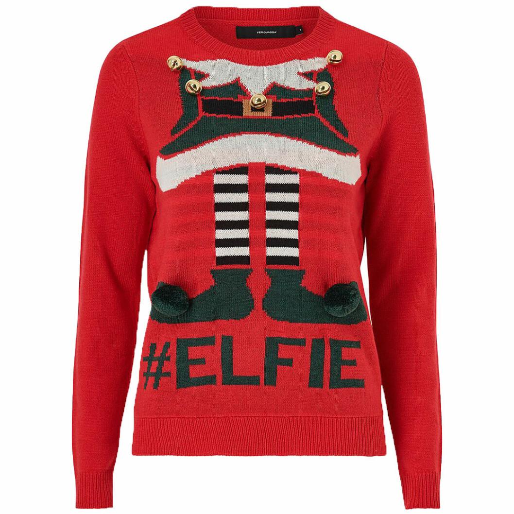 Röd jultröja med elf-motiv