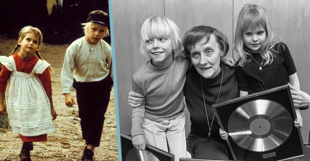 Ida och Emil med Astrid Lindgren