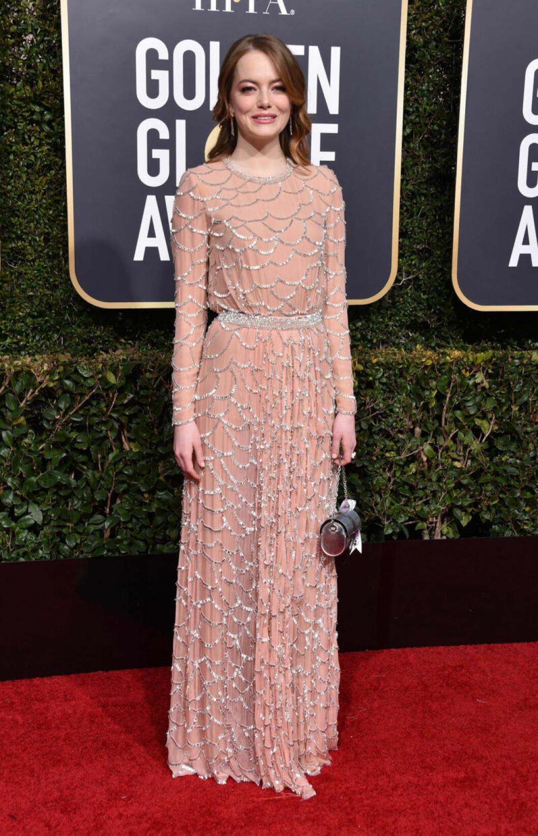 Emma Stone på röda mattan på Golden Globe