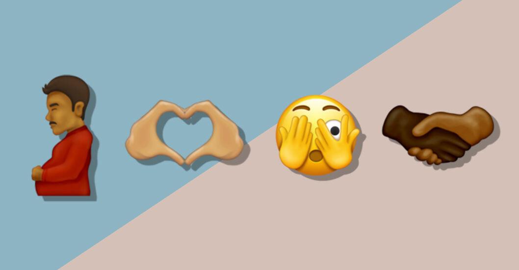 nya emoji 14 gravid man hjärta händer förvånad smiley händer håller hand
