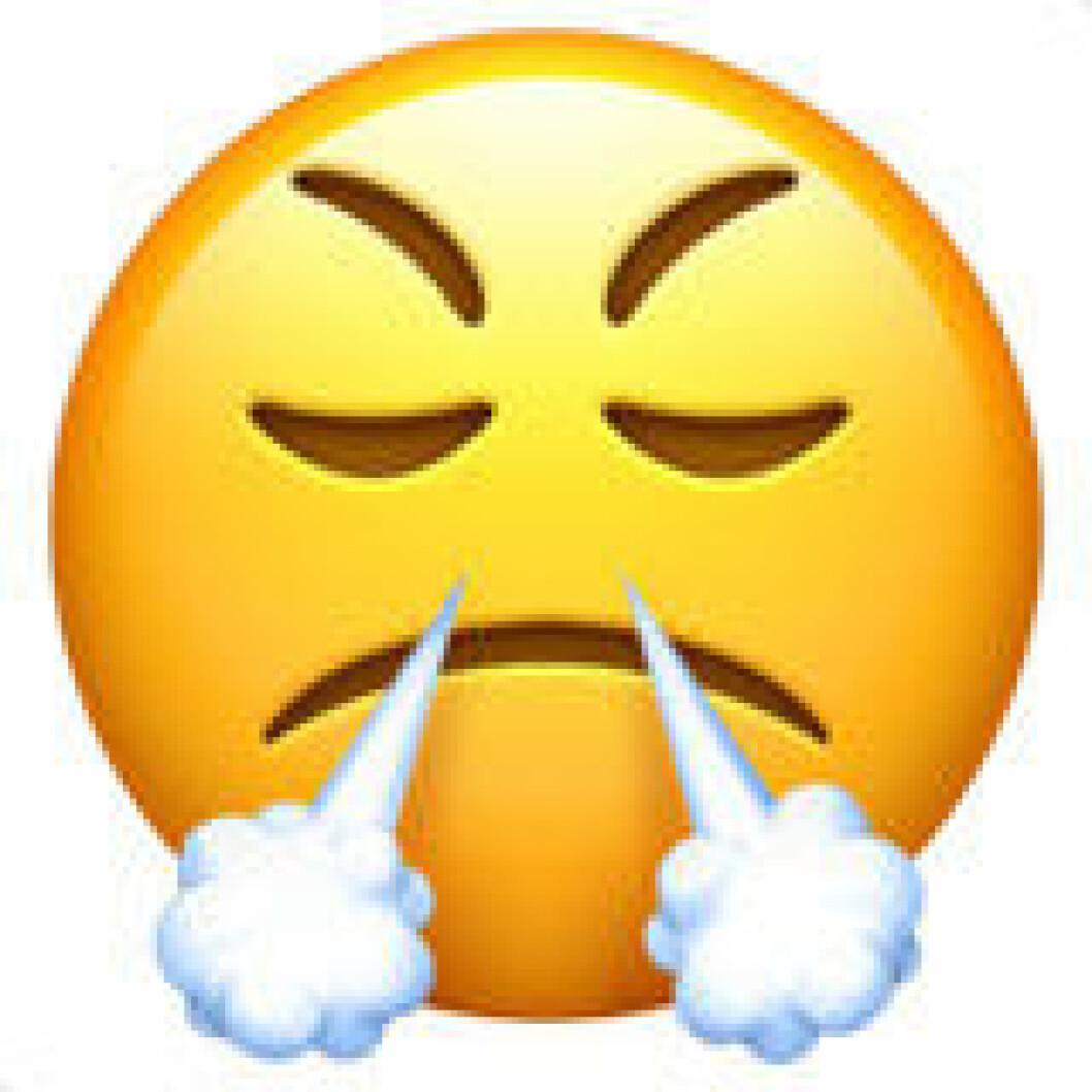 Emoji smiley med rök ur näsan