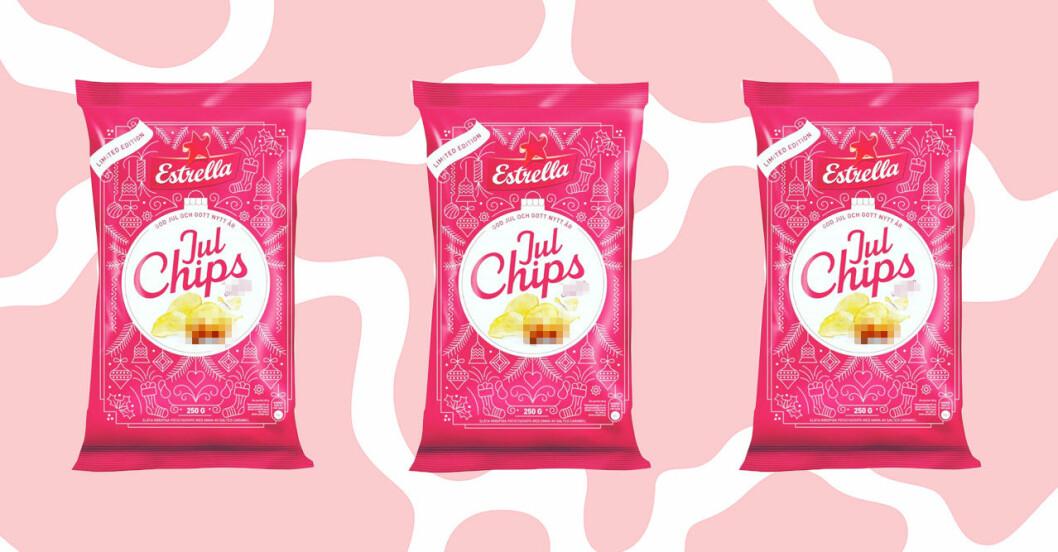 röda chipspåsar