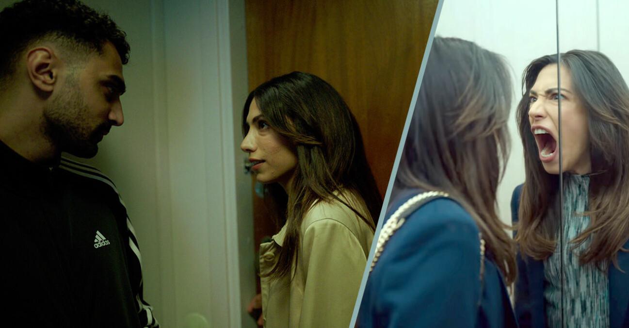 Salim och Leya och Leya skriker i hiss