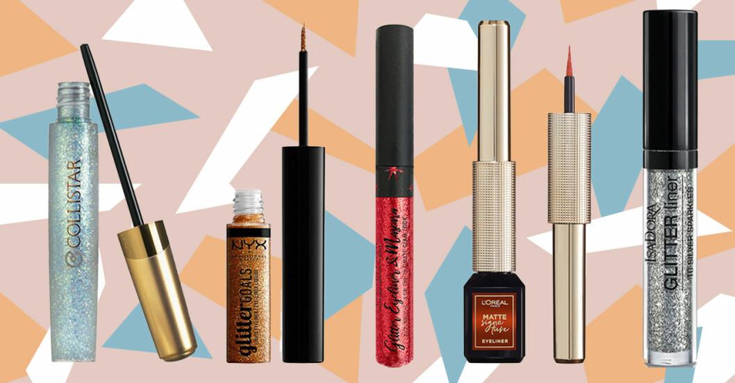 Eyeliner med färg och glitter