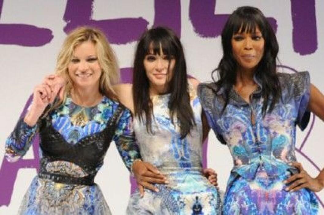 Kate Moss,  Annabelle Neilson och Naomi Campbell i London.